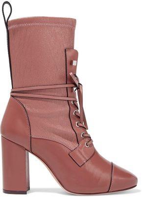 Stuart Weitzman Lace-up Paneled Leather Boots