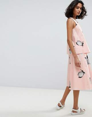 BOSS Casual Midi Skirt in Photo Lemon Print