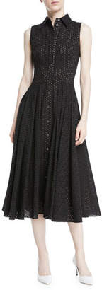 Michael Kors Sleeveless Button-Front Fit-and-Flare Cotton Eyelet Shirtdress