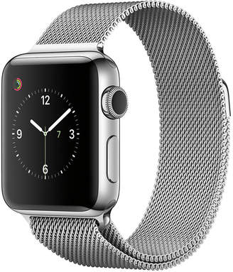 Apple Watch Series 2 38mm Stainless Steel Case with Silver-Tone Milanese Loop $649 thestylecure.com