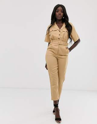 In The Style x Laura Jade tan tapered leg utility jumpsuit