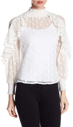 Gracia Floral Lace Ruffle Blouse
