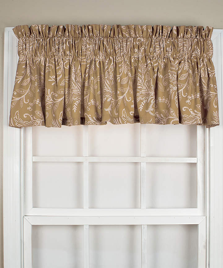 Natural Floating Leaves Tailored Valance