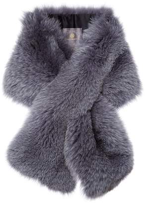 Arabella Lilly E Violetta Womens Blue Fox Fur Scarf