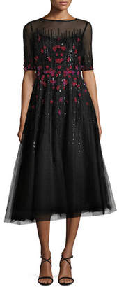 a387edc06da ... Rickie Freeman For Teri Jon 3 4-Sleeve Florals Beaded Tulle Cocktail  Dress