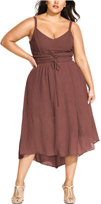 City Chic Trendy Plus Size Lace-Up Dress