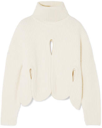 Antonio Berardi Cutout Wool And Cashmere-blend Turtleneck Sweater - Ivory