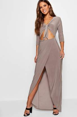 boohoo Petite Tie Front Cut Out Maxi Dress