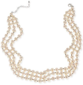 "Macy's Cultured Freshwater Pearl (5mm) Three Strand 14"" Choker Necklace in Sterling Silver"