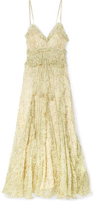 Lee Mathews - Nina Ruffled Silk-crepon Maxi Dress - Pastel yellow