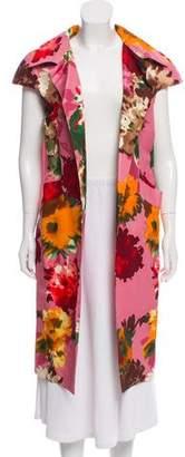Oscar de la Renta Floral Print Open Front Vest