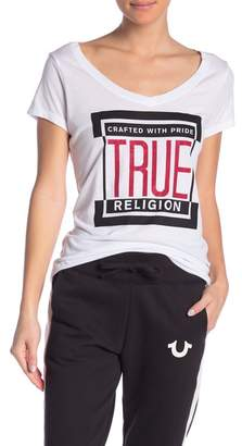 True Religion Scoop Neck Graphic Logo Tee
