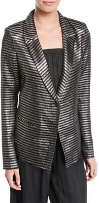 RtA Iggy Peak-Lapel Metallic Striped One-Button Blazer