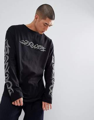 Granted Long Sleeve T-Shirt With Diamantes Sleeve Print In Black