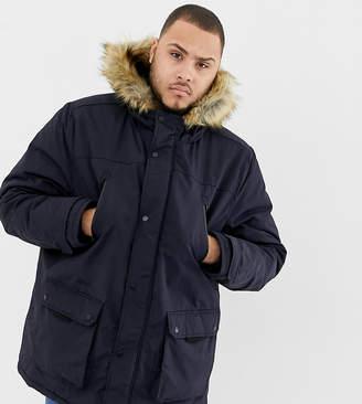 Burton Menswear Big & Tall parka jacket in navy
