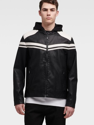 DKNY Faux-Leather Jacket With Racing Stripe