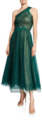 Marchesa One-Shoulder Glittery Tulle Midi Gown w/ Beaded Floral Appliques