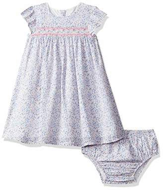 Mothercare Baby Girls' Blue Ditsy Smock Dress and Bloomer Set Pink 130, (Size:68CM)