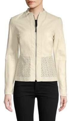 Elie Tahari Lasercut Leather Jacket