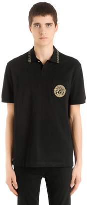 Versace Embroidered Medusa Cotton Polo Shirt