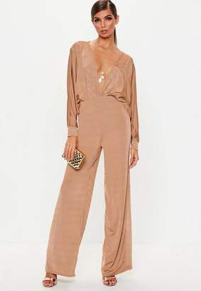 Missguided Camel Slinky Plunge Batwing Romper