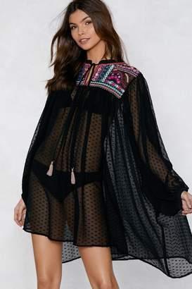 Nasty Gal Just Let It Flow Polka Dot Cover-Up Dress