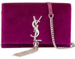 Saint Laurent Kate Velvet Crystal-Monogram Tassel Wallet on Chain
