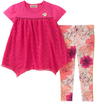 Juicy Couture Embroidered Top And Floral Legging Set