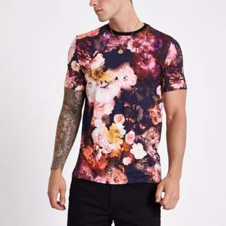 River Island Pink slim fit floral T-shirt