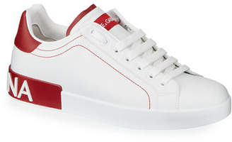 Dolce & Gabbana Men's Portofino Two-Tone Leather Sneakers