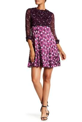 Anna Sui Cosmos Satin Burnout Silk Dress