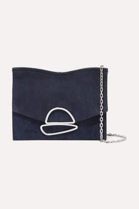 Proenza Schouler Curl Small Embellished Suede Shoulder Bag - Indigo