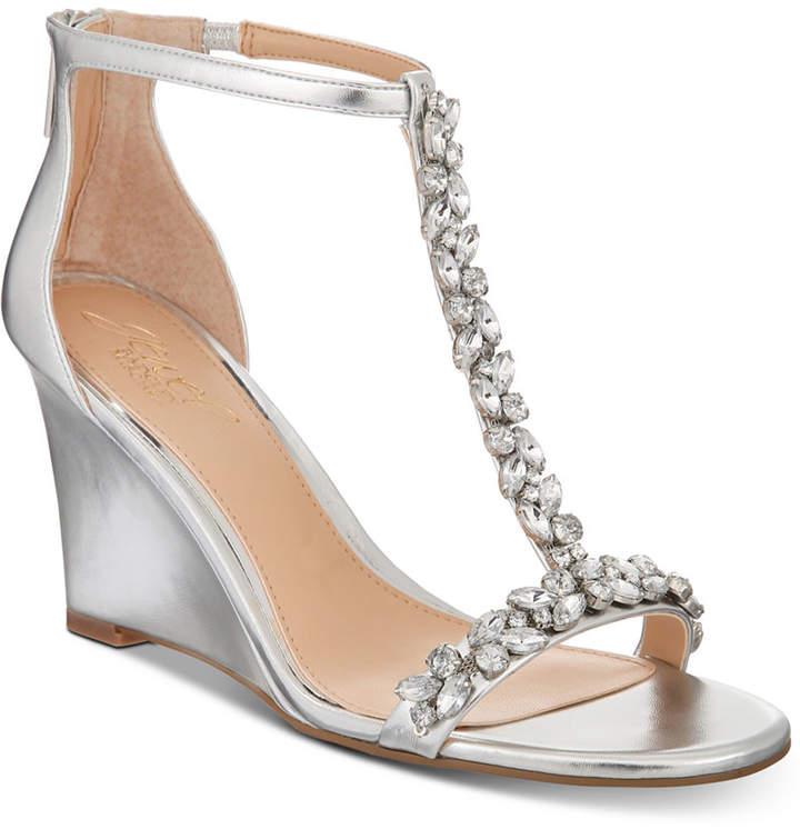 Jewel Badgley Mischka Meryl Wedge Evening Sandals Women's Shoes