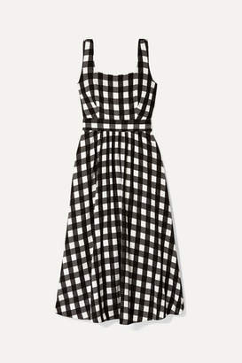 Temperley London Stirling Belted Checked Satin Midi Dress - Black
