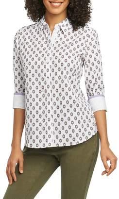 Foxcroft Ava Ikat Dot Wrinkle-Free Shirt