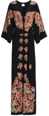 Vilshenko Belted Floral-Print Silk Crepe De Chine Maxi Dress