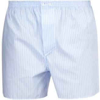 Zimmerli Striped Cotton Boxer Shorts - Mens - Blue