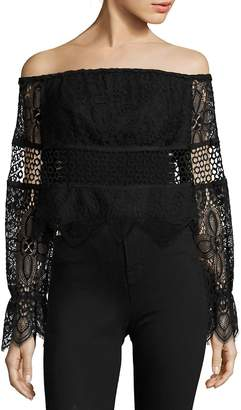 KENDALL + KYLIE Women's Off-the-Shoulder Lace Top