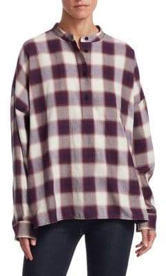 Elizabeth and James Flint Oversized Plaid Cotton Shirt