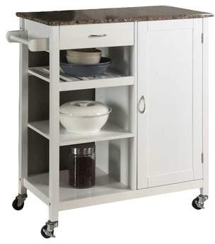 Red Barrel Studio Roselle Kitchen Cart with Faux Marble Top