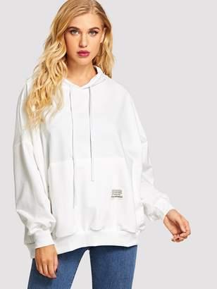 Shein Solid Pocket Front Hooded Sweatshirt