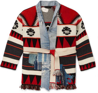 Alanui + Greg Lauren Shawl-Collar Panelled Cashmere-Intarsia And Denim Cardigan