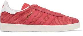 adidas Gazelle Leather-Trimmed Snake-Effect Suede Sneakers