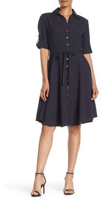 Sharagano Button Front Belted Shirt Dress