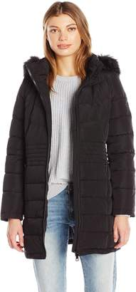 Calvin Klein Women's Down Puffer Long Coat with Faux Fur Trimmed Hood
