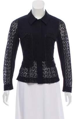 Prada Lace-Trimmed Snap-Up Jacket
