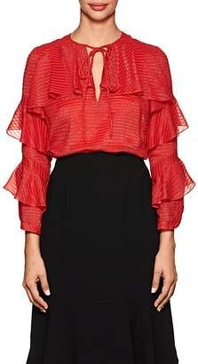 J. Mendel Women's Metallic-Striped Ruffled Silk-Blend Blouse