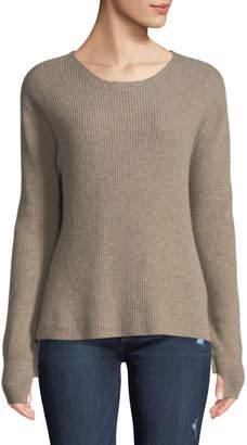 Neiman Marcus Cashmere Ruffle-Sleeve Pullover Sweater