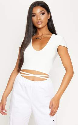 PrettyLittleThing White Slinky V Neck Harness Detail Crop Top