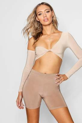 boohoo Slinky Mila Twist Front Long Sleeve Crop